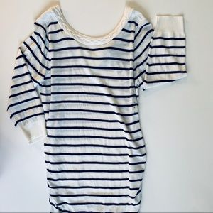 Pea In The Pod White and Blue Striped Top Large